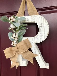 Letter Door Hangers, Letter Wall Decor, Decorative Letters For Wall, Initial Door Hanger, Distressed Doors, Letter Wreath, Initial Wreath, Farmhouse Wall Decor, Farmhouse Front