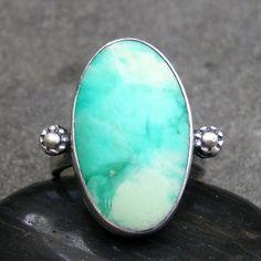 Chrysoprase Ring  Teal Blue Stone Ring  Chrysoprase by lsueszabo, $140.00
