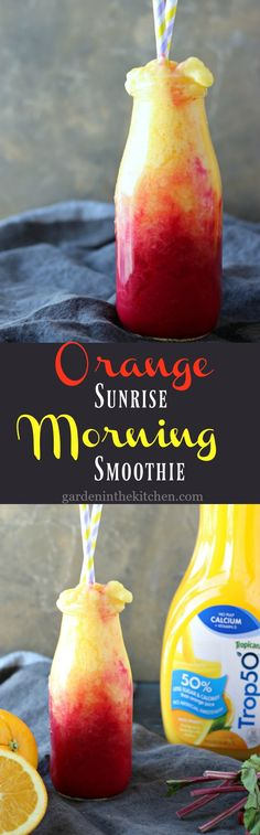 Orange Sunrise Morning Smoothie | gardeninthekitchen.com