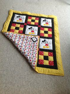 Baby Quilt Mickey Mouse Quilt Red/Yellow/Black by SheilaAnnsShoppe
