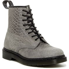 Dr. Martens 1460 8 Eye Boot (€80) ❤ liked on Polyvore featuring shoes, boots, grey, leather lace up boots, lace up boots, round toe boots, lace-up platform boots and grey lace up boots