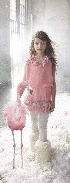 Pink chiffon ruffles, lamb fur sheep skin boots, and a pink flamingo--a girl is as a girl does. Heavenly!