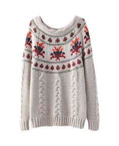 Round-neck Jacquard Cable-knit Sweater