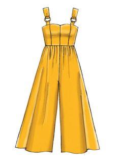 Misses Dresses Romper and Jumpsuit Sewing Pattern jumpsuitromper Dress Design Drawing, Dress Design Sketches, Fashion Design Sketchbook, Fashion Design Drawings, Dress Drawing, Fashion Sketches, Drawing Sketches, Drawing Tips, Dress Designs