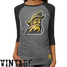 Appalachian State Mountaineers Ladies Supersize Fan Raglan T-Shirt - Ash/Charcoal