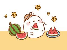 """Let's have a watermelon party!"" (from the Molang Facebook page)"