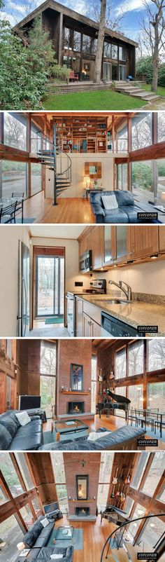 A modern two-bedroom glass cabin available for sale in East Hampton