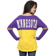 Minnesota Vikings 5th  amp  Ocean by New Era Women s Baby Jersey Spirit Top  Long Sleeve bf09fd39c