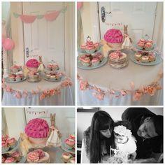 Bunny Tea party: Cake Table, vintage cake plates, rose garland, birthday cake, maileg bunny cake