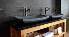 pierre naturelle salle de bain- vasques en basalte gris superbe