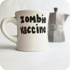 Zombie Vaccine Funny Mug coffee tea cup diner mug black white hand painted. $12.00, via Etsy.