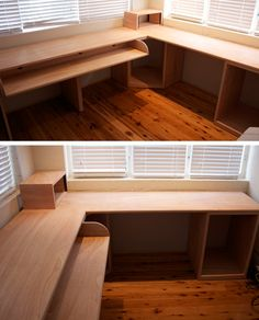 plywood desk- love the simple storage. Cheap?