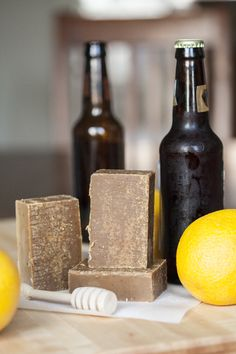 """Recipe for Citrus Honey scotch ale soap. Fun fact about homemade soap: because of the """"superfatting"""" (a small % of excess oils), homemade soaps are so much more moisturizing than typical store-bought soaps Soap Making Recipes, Homemade Soap Recipes, Homemade Gifts, Homemade Beer, Diy Gifts, Diy Savon, Savon Soap, Beer Soap, How To Make Beer"""