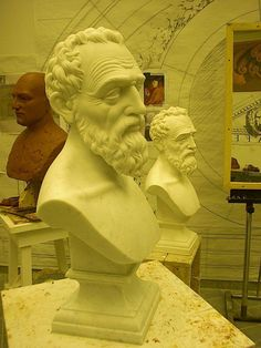 """Michelangelo Bust in Carrara Marble."" See more in Issue No.3 http://artisanalspecs.blogspot.com/2012/08/written-in-stone-richard-carbino-talks.html"