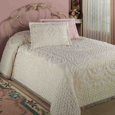 Features Soft White Cotton Tufted Butterflies in Sage Pink Lavender Colorful Butterfly Brilliance Bedspread Queen Machine Washable King Full