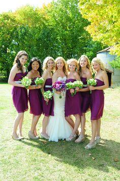 REAL DOOR COUNTY WEDDING! Deep purple bridesmaid dresses from J Crew. ~ Door County Wedding Photography by Art of Exposure. Wedding Dress y Monique Lhuillier.