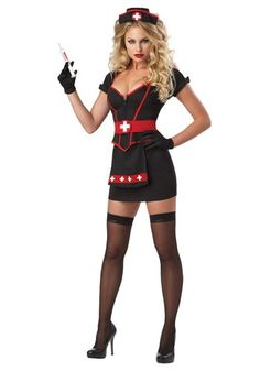 california costumes womens cardiac arrest nurse costume daring and dangerous this dark nurse feature a sweetheart neck line with adjustable zipper