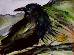 Raven Ridge original watercolor painting by CarolynDoeDesigns, $50.00