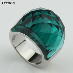 LYCOON high quality 316L stainless steel wedding Jewelry big crystal ring transparent Austrian green crystal rings for women