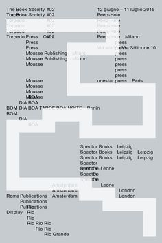 "vivariogrande: "" Book Society #02, invitation, at Peep Hole, 2015 """