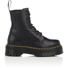 Dr Martens Women's Women's Jadon Leather Platform Ankle Boots ($170) ❤ liked on Polyvore featuring shoes, boots, ankle booties, ankle boots, black, black leather boots, laced up platform booties, black booties and lace-up bootie