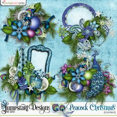 A Peacock Christmas ~ Clusters ~ by Jumpstart Designs  $