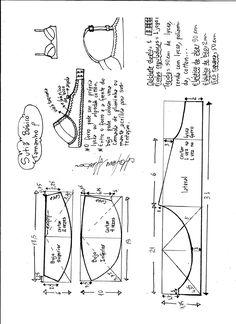 Esquema de modelagem de sutiã tamanho P.