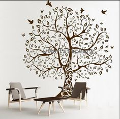 Vinyl Wall Decal Nature Design Tree Wall Decals Wall stickers Nursery wall decal wall art------birds and tree. $75.00, via Etsy.
