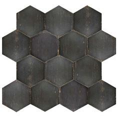 """Retro Hex Negre 14-1/8""""x16-1/4"""" Porcelain F/W Tile"""