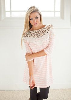 Classic Beauty Top in Peach with Stripes CLEARANCE