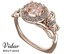 Morganite Engagement Ring,Unique Engagement Ring,Rose Gold Ring,Flower Engagement Ring,Leaves Ring,Vintage Ring,Floral Ring,Lotus Ring,Leaf