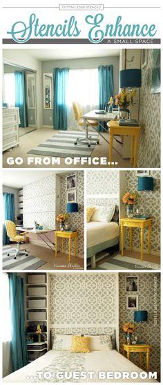A DIY stenciled accent wall in a guest room/office using the Zamira Allover Stencil. http://www.cuttingedgestencils.com/moroccan-stencil-designs.html