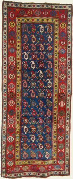 3.5 x 8.7 Antique Karabagh Rug, South Caucasian- Circa 1885