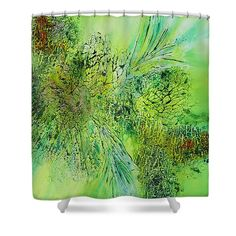 Abstract Art - The colors of Spring Shower Curtain by Sabina Von Arx Basic Colors, Green Colors, Green Bathroom Decor, The Colour Of Spring, Spring Shower, Shower Curtain Rings, Curtains With Rings, Curtains For Sale, Color Show