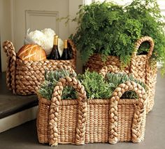 Baskets have so many uses in the kitchen. I love seeing them tucked under a bench filled with extra linens and bags of potatoes.