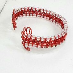 Handmade-Bracelet-Wire-Weave-Red-Wire-Work-clear-beads-adjustable-cuff-by-Pat2