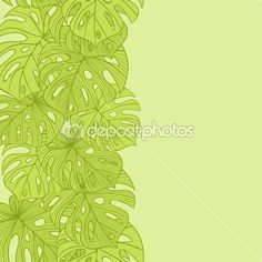 Vector illustration leaves of palm tree. Seamless pattern. — Stock ...