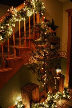 Beautiful staircase vignette and garland