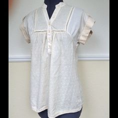 """BCBGeneration Beige Top BCBGeneration beige top.  Look at the crochet detailing and the beautiful dotted swiss material.  Cuffed cap sleeve.  Length 24"""" (shoulder to hem).  Great condition. BCBGeneration Tops Blouses"""