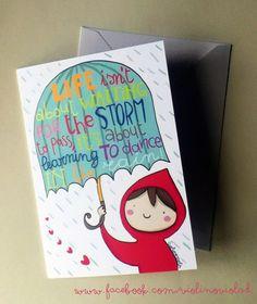 Illustrated greetings card rain quote from violinoviola by DaWanda.com