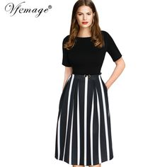 6d2bf9dcaf0 Vfemage Womens Elegant Vintage Summer Print Belted Tunic Pinup Patchwork  Work Office Casual Party A Line