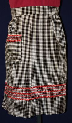 Vintage Half Apron Black and White Check with by ilovevintagestuff