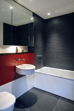 Place long and narrow subway tile in your bathroom for a sleek look.