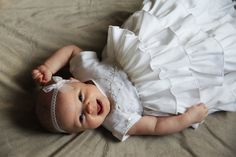 Baby Girl Blessing Christening Dedication Baptism Confirmation Dress Gown 0-3 mo. $175.00, via Etsy.