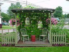 43 Ideas Diy Garden Seating Back Yard Garden Nook, Diy Garden, Garden Cottage, Dream Garden, Corner Garden, Shade Garden, Garden Ponds, Koi Ponds, Garden Web