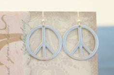 Metal Peace Earrings by KaliKJewelry on Etsy, $5.00
