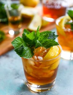 Bourbon Mint Ice Tea. Bourbon pairs really well with black tea, so I'm sure this is delicious.