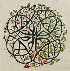 Apple Tree Celtic Knot Lino cut print - Jane Kendall