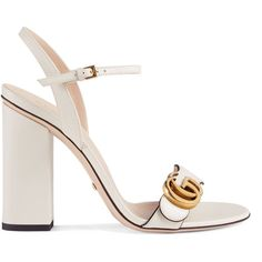 Gucci Leather Sandal ($695) ❤ liked on Polyvore featuring shoes, sandals, gucci, heels, white, women, strappy heeled sandals, leather strap sandals, high heeled footwear and heeled sandals