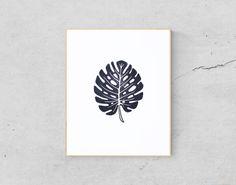 Monstera Art Print - Tropical Leaf Print - Palm Leaf Art Print - Monstera Leaf Print - Palm Leaf Print - Monstera Wall Art - Linocut Print by DotOfInk on Etsy https://www.etsy.com/listing/527265543/monstera-art-print-tropical-leaf-print